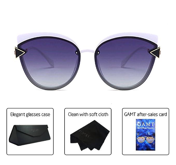 3972c92803 GAMT Cat Eye Sunglasses Oversized Sun Glasses for Women Vintage Polarized  Earwear white Frame purple Lens  Amazon.ca  Clothing   Accessories