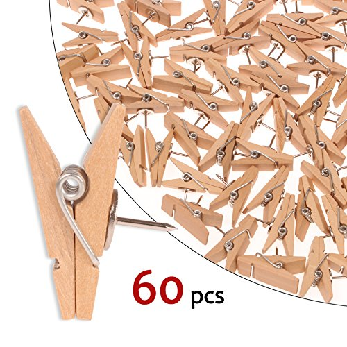Push Pin Clips - 60 Paper Clips with Pin for Documents/Artworks/School Projects/Photos/Notes/Papers/Cork Board/Bulletin Board - Clip Thumbtack - No Holes for The Paper
