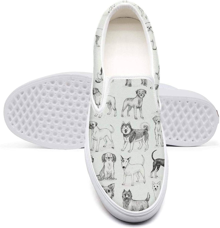 AADGHJKK Cartoon Dachshund Dog Womens Pretty Slip on Cloth Canvas Shoes Basketball Low Top Sneakers