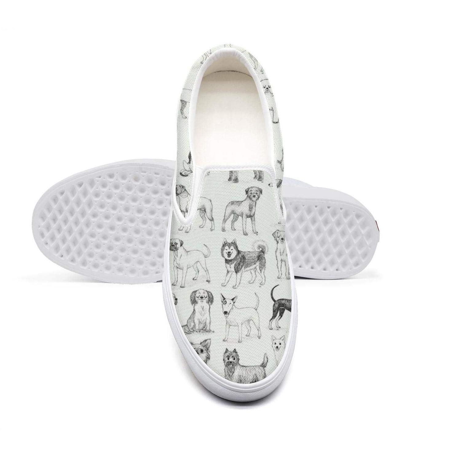 Animal Dogs Wallpaper Womens Vintage Slip on Boat Canvas Shoes Volleyball Low Top Sneakers