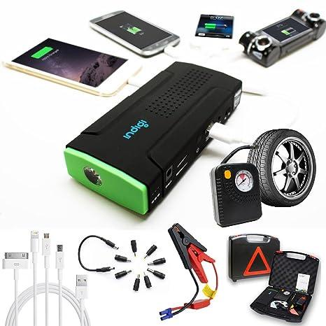 Indigi potente 12 V arranque de coche hemiedría Batería externa compresor de batería externa para iPhone