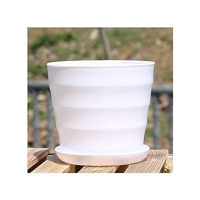 1 Pc Xs XL Imitation Ceramic Plastic Flower Plants Pots Thicken Succulents Nursery Garden Planter Home Office Decorative Crafts,White,XL: Garden & Outdoor