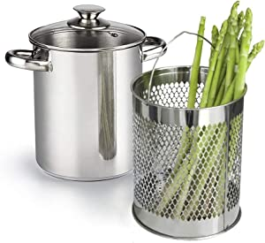 MASTER FENG Vegetable Steamer Pot with Basket,Stainless Steel Asparagus Steamer with Glass Lid (4.2L)