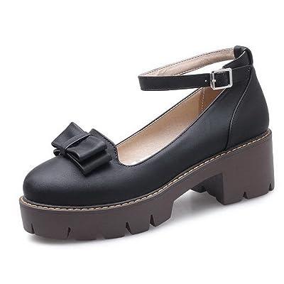 AgooLar Femme Couleur Unie à Talon Correct Boucle Chaussures Légeres