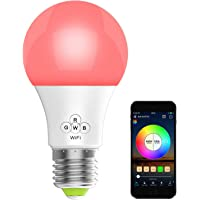 HaoDeng Smart LED WiFi Light, e27 a19 Edison Bulb -Timer & Sunrise & Sunset - Dimmable, Multicolor, Warm White - No Hub…