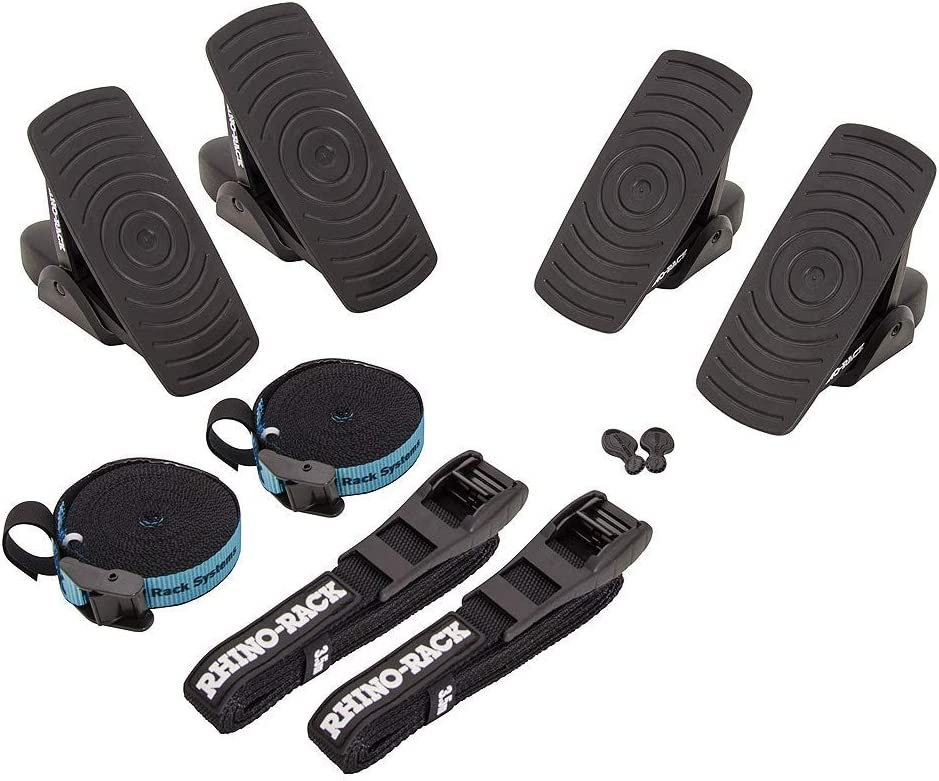 Includes 2 x Tie Down Straps and 2 x Rapid Straps w//Unique Buckle Protector Rhino Rack Nautic 580 Series Kayak//Canoe Carrier Renewed