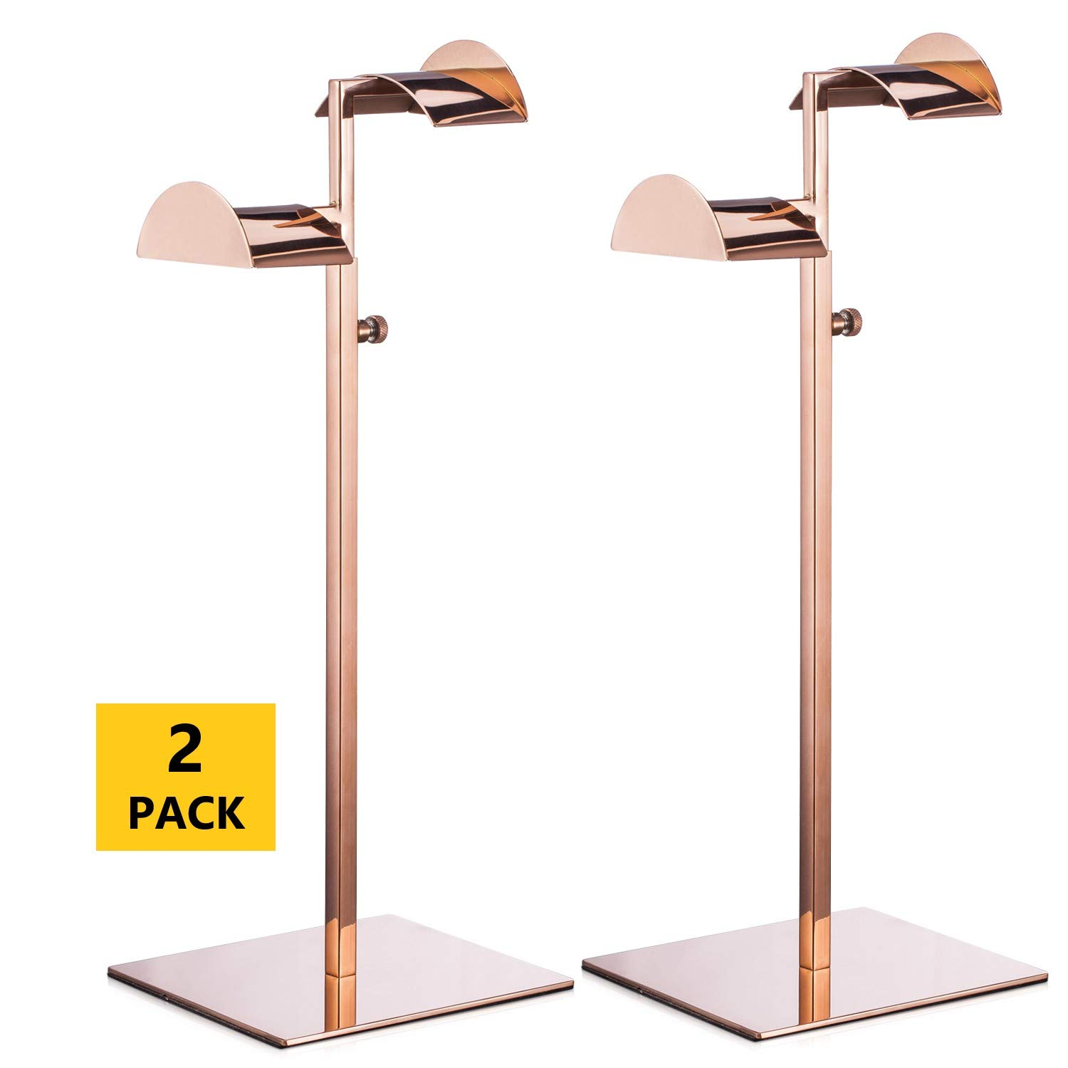 Polmart Adjustable Double Arm Handbag Purse Display Stand with Crescent Handles, Rose Gold, Pack of 2