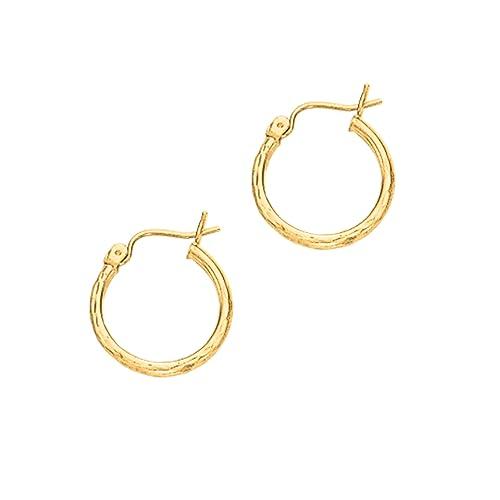 9f854fe73783 14 kt oro amarillo 2 x 15 mm brillante tubo redondo diseño de corte de diamante  Aro Pendientes  Amazon.es  Joyería