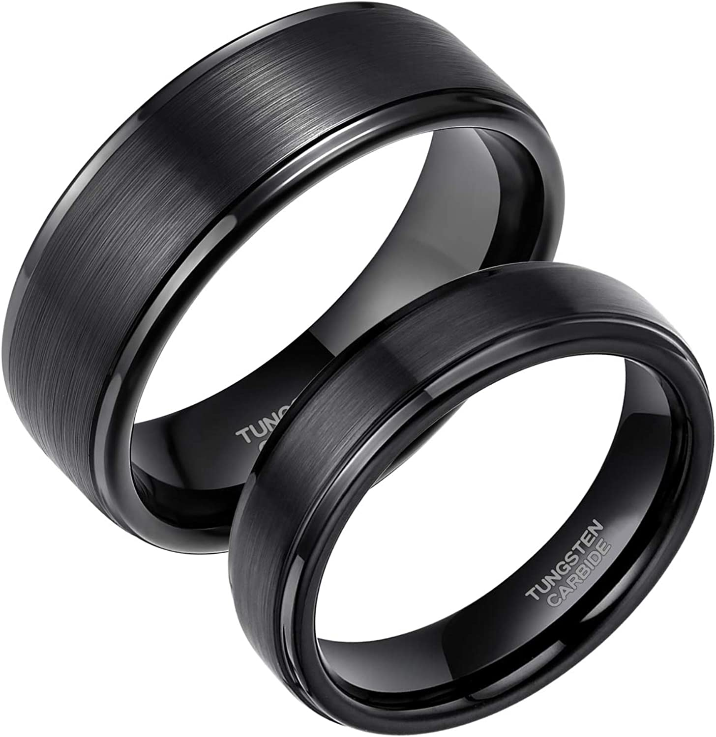 Greenpod 6mm 8mm Black Tungsten Rings for Men Women Brushed Wedding Bands Ring Matte Finished Comfort Fit Size 4-15