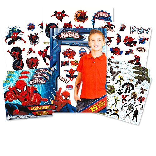 Marvel Spiderman Stickers and Tattoos Party Favor Pack (360 Spider-Man Stickers and 75 Temporary -