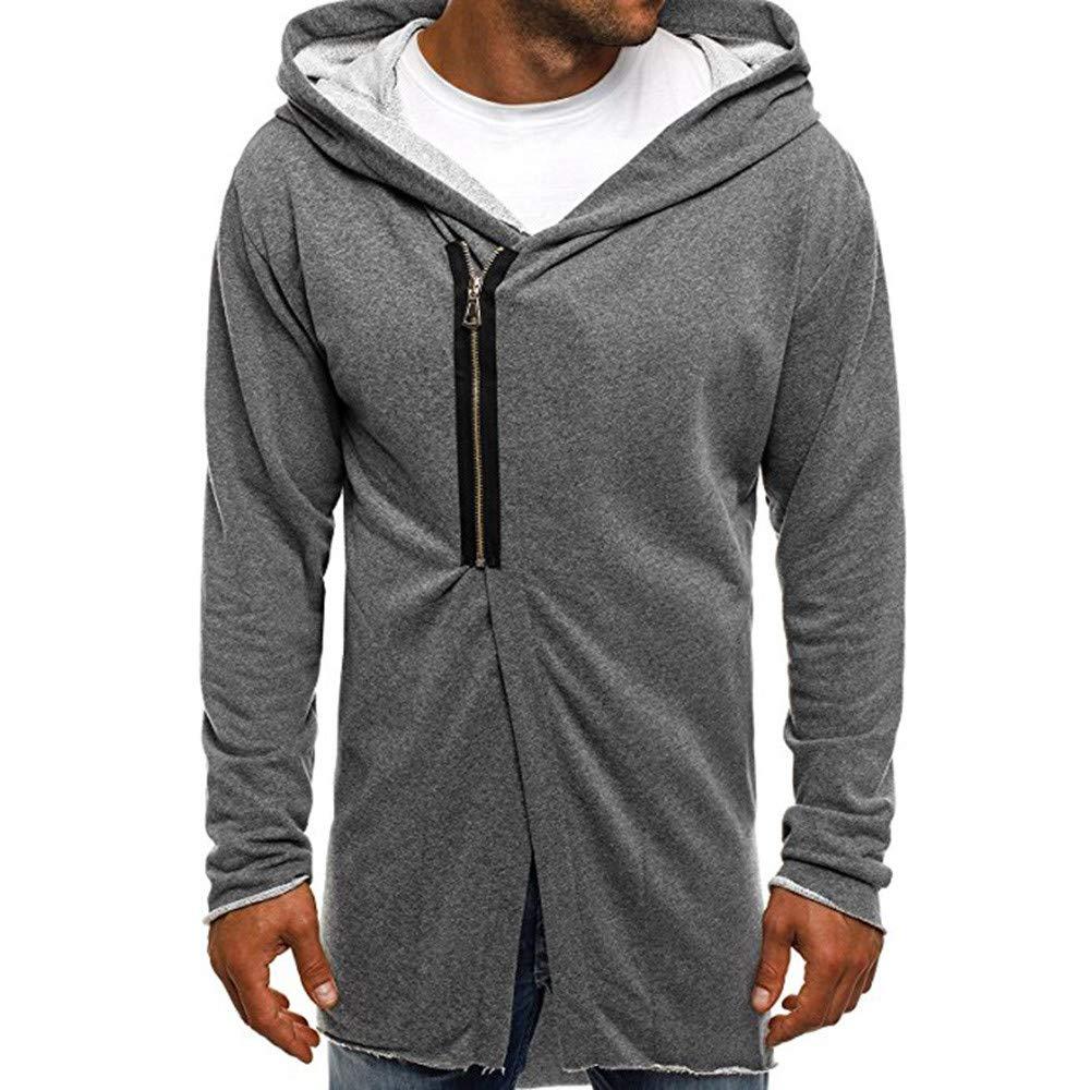 Shybuy Mens Stylish Hipster Hip Hop Sweatshirt Casual Long Sleeve Zipper Irregular Hoodie Coat T-Shirt (Gray, M)