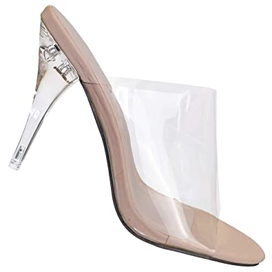 8bbd5025781 Amazon.com | Clear High Heel Mules - PVC Acrylic See Through Slide ...