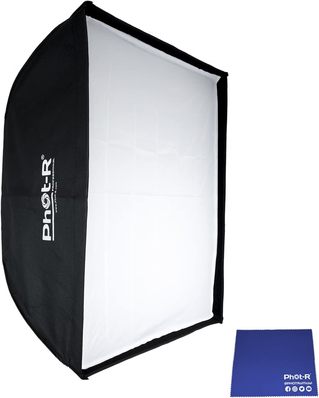 Phot-R Professional 22 x 90 cm Rectangular Folding Umbrella Strip Softbox and Honeycomb Grid with Bowens S Type Mount Speedring Studio Strobe Flash Chamois Cloth