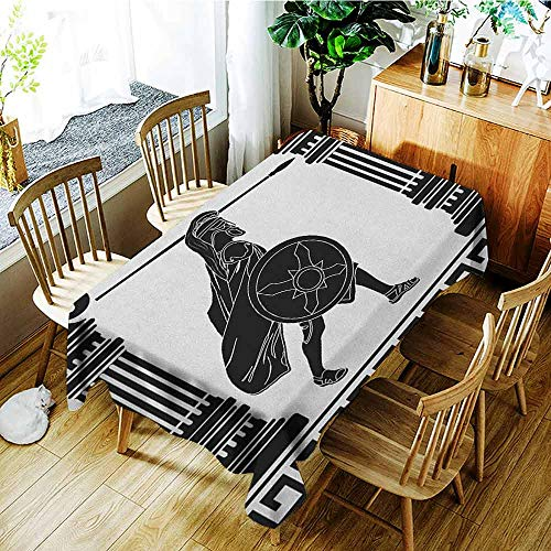 (XXANS Tablecloth,Toga Party,Black Warrior Silhouette Ready to Attack Between Ancient Ionic Palace Columns,Fashions Rectangular,W60x84L Black White)