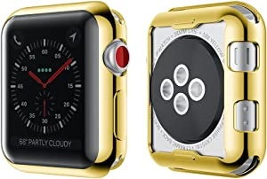 Smiling Apple Watch 3 Case Buit in TPU Screen Protector All-Around Protective Case High Definition Clear Ultra-Thin Cover for Apple iwatch 42mm Series 3 and Series 2 (Gold, 42mm)