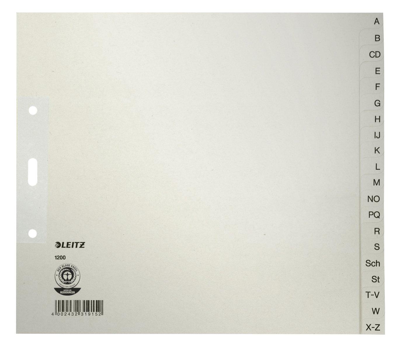 Register A-Z Tauenpapier, 24,0x21cm, A4 halbe Hö he, 20 Blatt, lichtgrau Leitz 1200-00-85