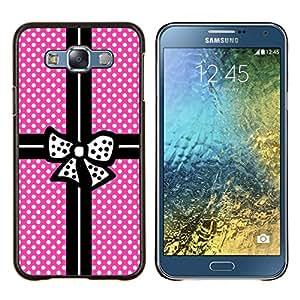 Paquete lunar rosado Negro Bowtie- Metal de aluminio y de plástico duro Caja del teléfono - Negro - Samsung Galaxy E7 / SM-E700
