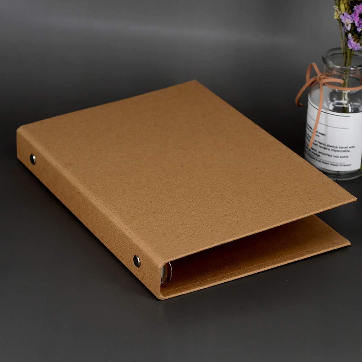 carpeta de papel kraft multifunci/ón Carpeta de anillas Archivador de anillas DIN A5 cubierta de bricolaje para cuaderno de dibujo Carpeta forrada 6 anillas 9.17 * 6.9 * 1.2 pulgadas