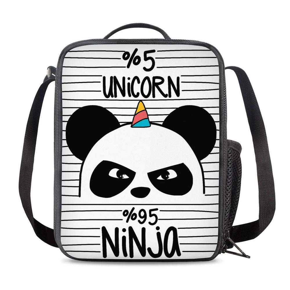 PrelerDIY Unicorn Ninja Panda Lunch Bag Tote Lunch Box Food Bag for Boys Girls with Side Pocket & Shoulder Strap