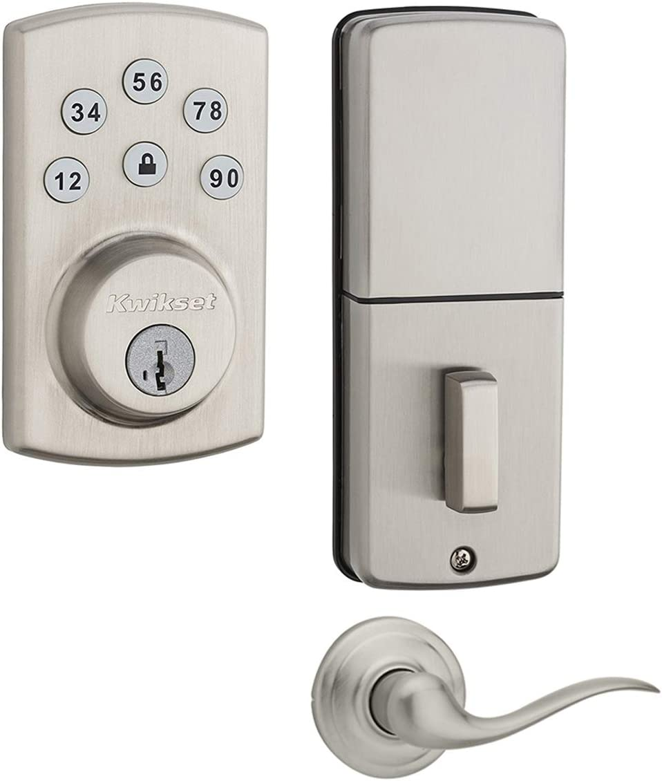 Kwikset 907 Powerbolt 2.0 Electronic Deadbolt Featuring SmartKey with Tustin Passage Lever (Satin Nickel)