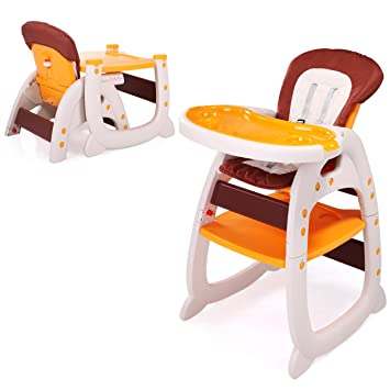 LAZYMOON 3 In 1 Toddler Highchairs Booster Seats Convertible High Chair W/  Feeding Tray Yellow