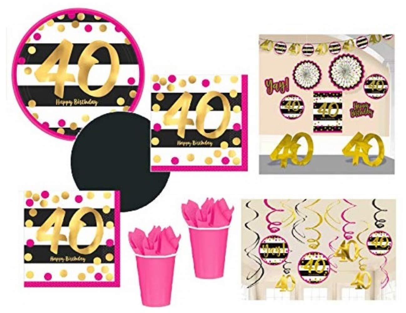 FAKKOS Design 40th Birthday Decorations and Party Supplies in Pink Gold Black foil for 24 Guests Includes Plates, Cups, Napkins, Deluxe Decorations Kit