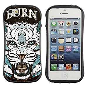 Hybrid Anti-Shock Bumper Case for Apple iPhone 5 5S / Cool Tiger Tattoo Badge
