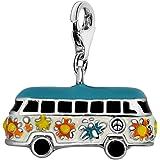 Quiges Charms Anhänger Versilbert Hippie Bus für Bettelarmband