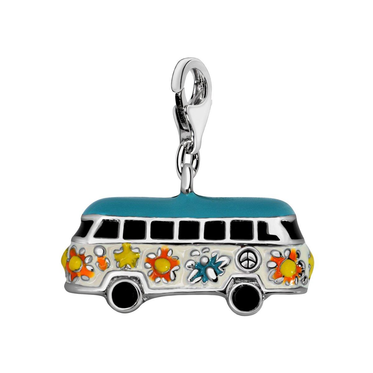 Quiges Charm Pendentif Perle avec Fermoir Femme Argent 925 Bus Hippie en Émail Multicolore HC320 AMZ-HC320