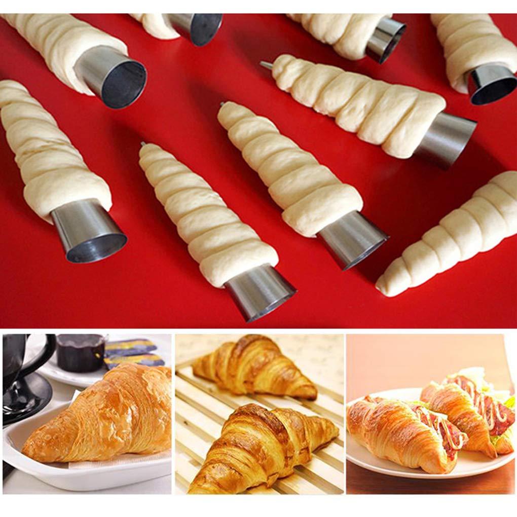 2 2cm/&5PCS Tubo c/ónico 12PCS Cono Rollo moldes de Acero Inoxidable Croissants Espiral moldes de reposter/ía Crema Cuerno Cake Pan Molde Plata 8.8 Babysbreath17 5