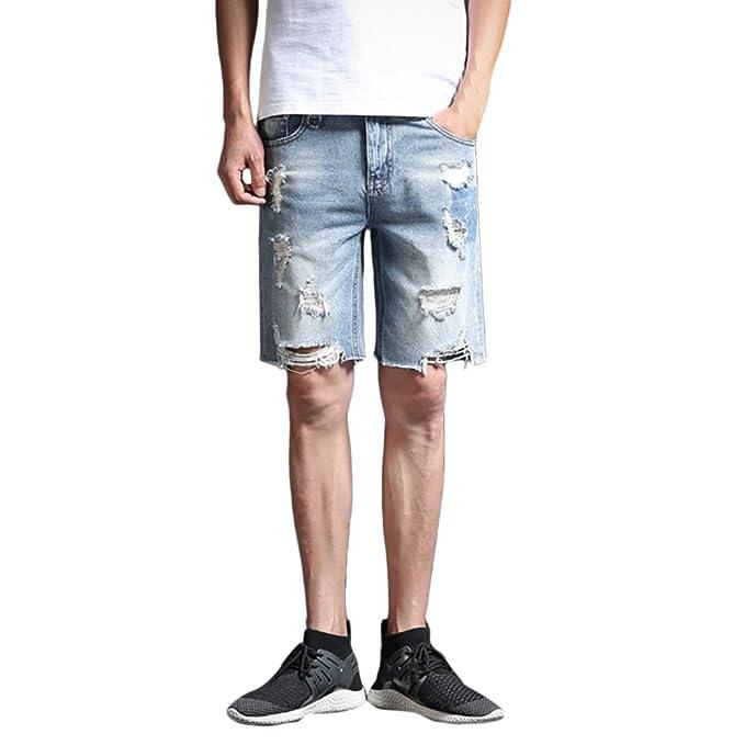 39ec539c44 Zhhlaixing Jeans Denim Hombre Pantalones Cortos Jeans Vaquero Bermuda  Jogging Cómodos de para Hombre Jean Shorts Men Shorts Washed Knee Length   Amazon.es  ...