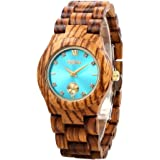 GBlife Women Wooden Watch - Casual Series / Lightweight / Natural / Handmade / Adjustable Wood Watch Band / Thin Case Quartz Wristwatch
