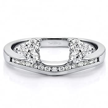 Wrap in Forever Brilliant Moissanite by Charles&Colvard (0.2Ct) Size 3 To 15 in 1/4 Size Interval