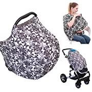 4-in-1 Nursing Top Cover: Soft and Breathable Breastfeeding Cover, Baby Car Seat and Stroller Protective Canopy, Oversized Fashion T-Shirt – Stretchy and Comfortable Poncho Shawl Floral