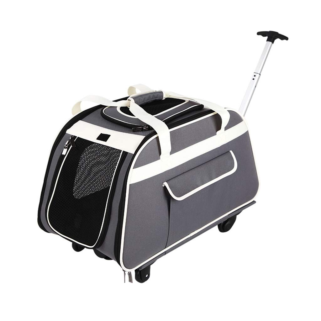 Pet Collapsible Trolley Rolling Case Breathable Tug Puller Cat Dog Cage Travel cat and Dog Carrier with Wheels (66×37×36cm)