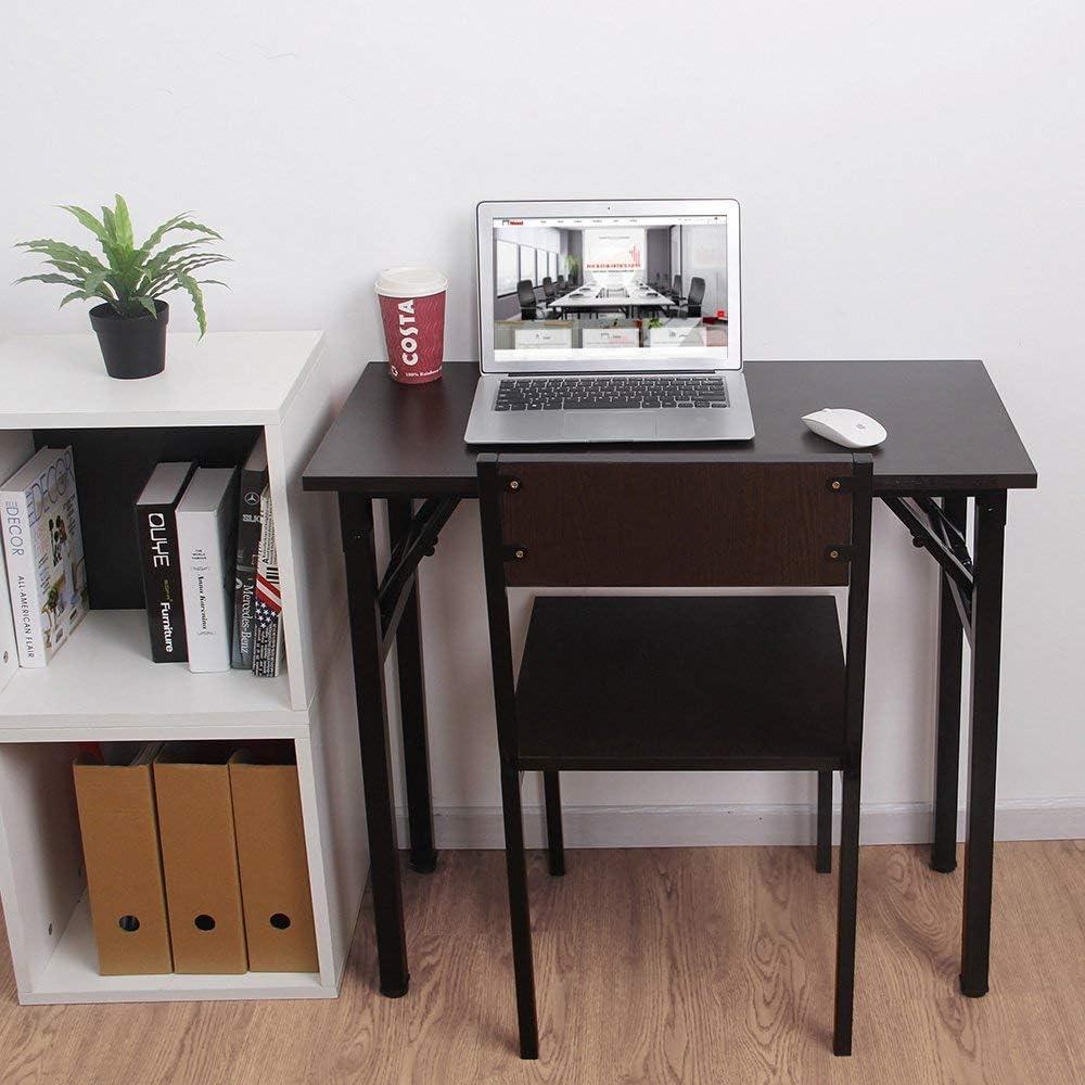 SogesHome Bureau dInformatique Pliante 80 x 40 x 75 cm Table dOrdinateur pour Bureau//Maison Table d/écriture///à D/îner Teck /& Noir AC5CB-8040-SH