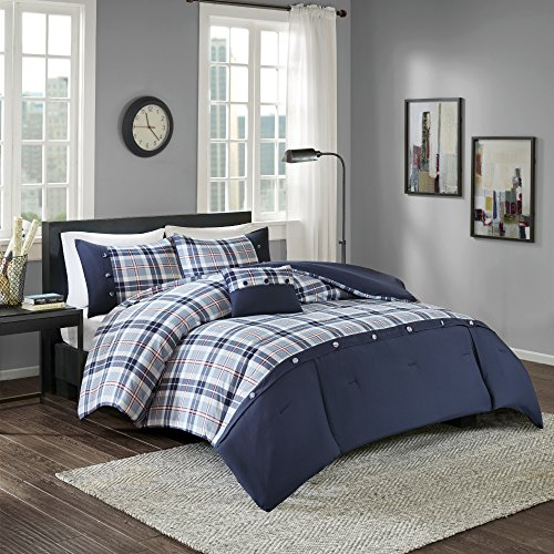 Comfort Spaces Harvey Comforter Set - 3 Piece - Blue - Multi-Color Plaid - Perfect For College Dormitory, Guest Room - Twin/Twin XL Size, includes 1 Comforter, 1 Sham, 1 Decorative Pillow Plaid Bed Bag