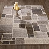 Urban Collection Contemporary Sculpted Effect Abstract Checkered Tiles Beige Brown Area Rug – 5×7 (5'3″ x 7'3″) For Sale