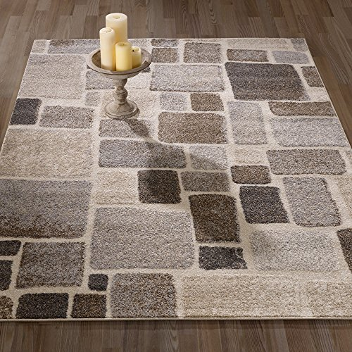 Ottomanson Urban Collection Contemporary Sculpted Effect Abstract Checkered Tiles Beige Brown Area Rug - 5x7 (5'3