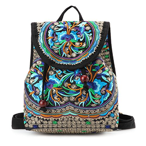 Goodhan Vintage Women Embroidery Ethnic Backpack Travel Handbag Shoulder Bag Mochila