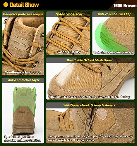 Ansbowey Bottes Hommes Chaussures de Randonnée Femmes Tactiques Militaire Combat Boots Exterieur antidérapantes Bottines… 4