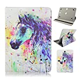 Trio Stealth Mach Speed G2 9.7'' inch Tablet Colorful Horse Painting Universal Case Cover - Adjustable 360 Rotating Stand Design
