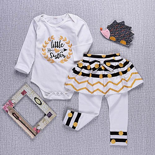 b258e7820 Younger star Newborn Little Sister Baby Little Girls Skirts Leggings  Bowknot Pants Gifts Outfits Set