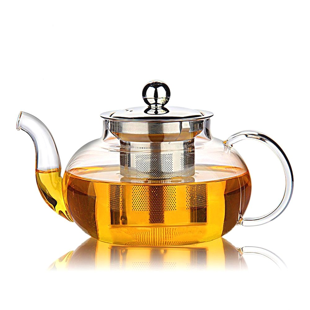 Hiware Good Glass Teapot with Stainless Steel Infuser & Lid, Borosilicate Glass Tea Kettle Stovetop Safe, Blooming & Loose Leaf Teapots, 27 Ounce / 800 ml by Hiware