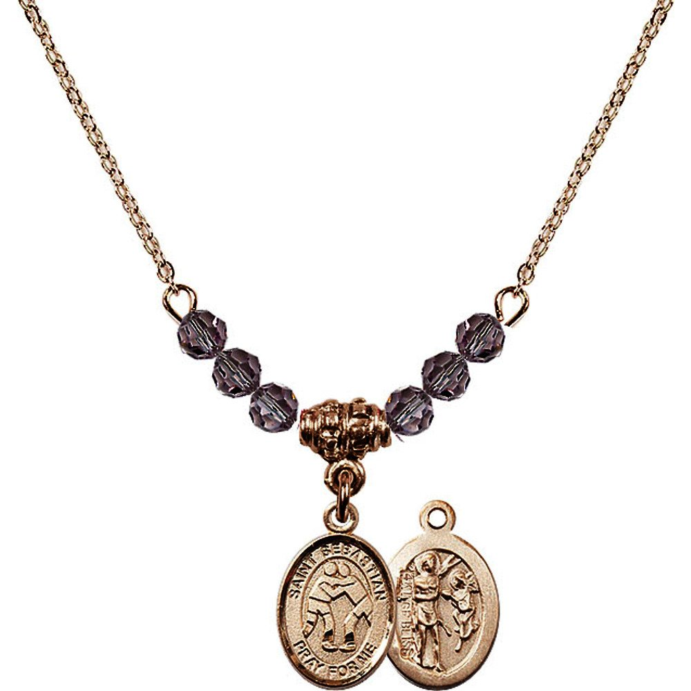 18-Inch Hamilton Gold Plated Necklace w/ 4mm Light Purple February Birth Month Stone Beads & Saint Sebastian/Wrestling Charm