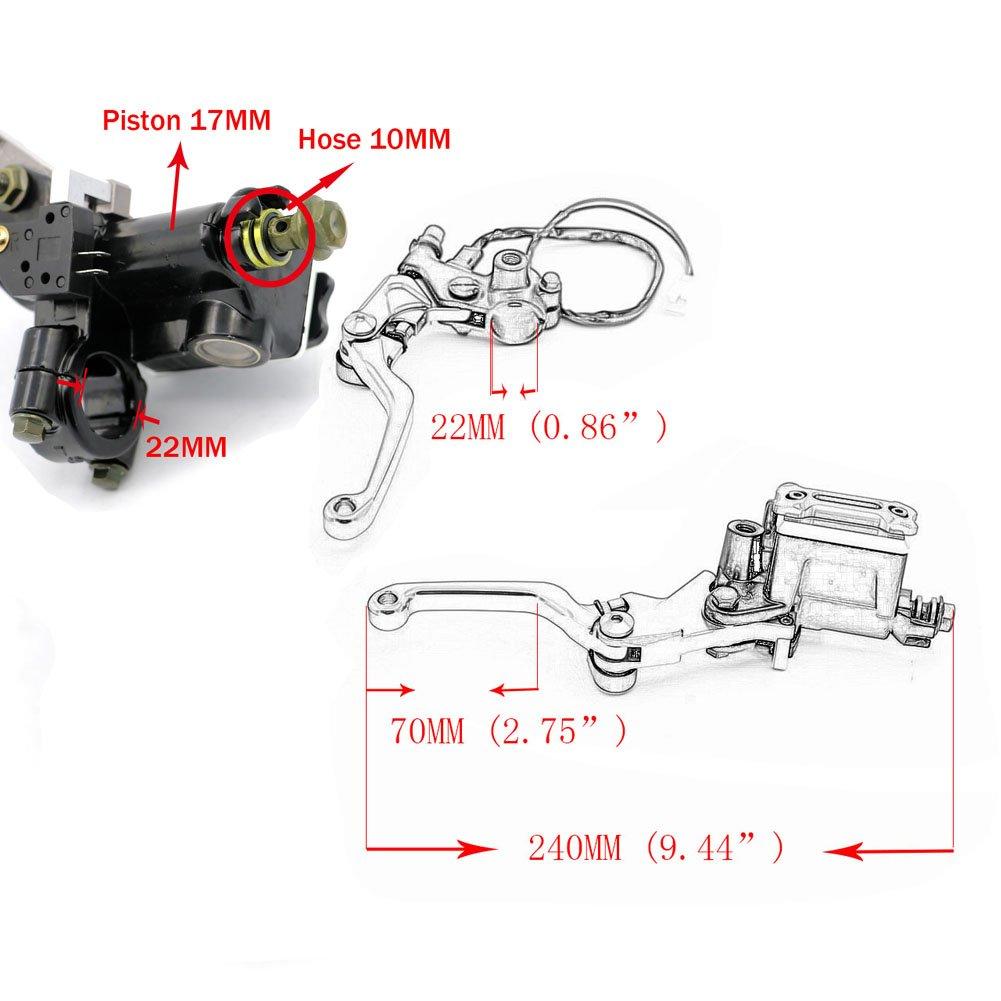 Alpha Rider 7//8 Brake Master Cylinder Reservoir Pivot Levers for Suzuki TS 200 R DR200 DR350 DRZ-400 DR650 DR650 SE XF650 DL650 DR800 S Big DL1000