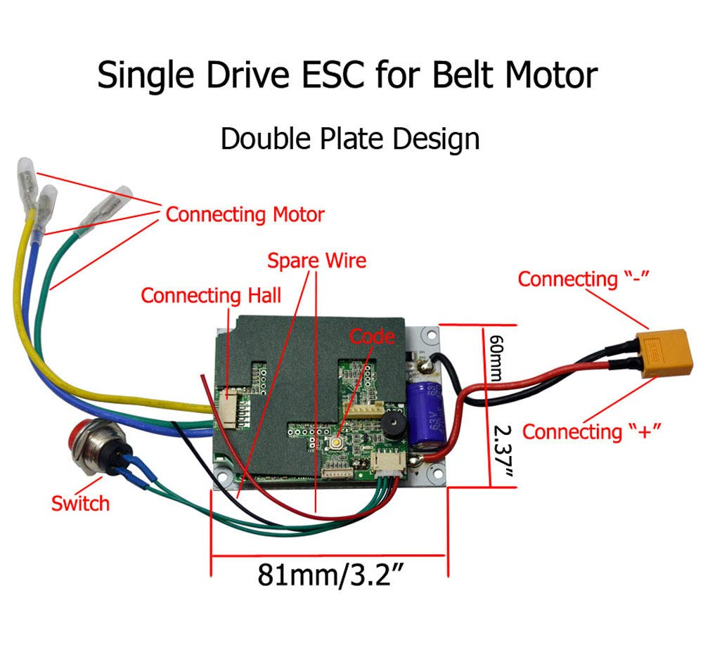 36v Upgrade Dual Motor Drive Esc For Brushless Belt Electric Skateboard Wiring Diagram Wireless 24g Remote Control Transmitter