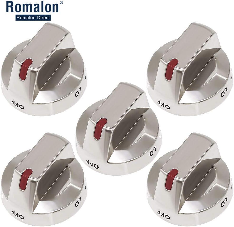 Burner Knob DG64-00473A Burner Control Knob Dial Full Body Metal Super Durable Compatible with Samsung Gas Range (5 Pack) Replace DG64-00473B,DG64-00347A,DG64-00347B,AP5917439, PS9606608 by Romalon
