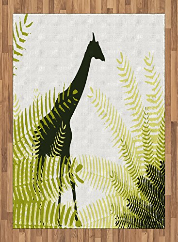 Africa Area Rug by Ambesonne, Silhouette of Giraffe among Ferns in National Park Terrestrial Tall Animal Print, Flat Woven Accent Rug for Living Room Bedroom Dining Room, 5.2 x 7.5 FT, Green Black by Ambesonne