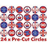 24 x 38mm Pre Cut Queens 90th 90 Birthday Years Union Jack UK Street Party Elizabeth II Celebrations Fairy Muffin Cup Cake Toppers Decoration Edible Rice Wafer Paper by Harolds Bakeware